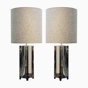 Grandes Lampes de Bureau en Chrome avec Abat-jours Houndstooth, Set de 2