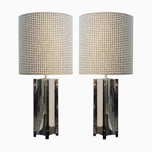 Large Chrome Table Lamps with Houndstooth Lampshades, Set of 2