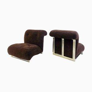 Poltrone basse in metallo cromato spazzolato con cuscini in velluto marrone, anni '70, set di 2