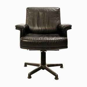 Black Leather Model DS 35 Swivel Desk Chair from de Sede, 1960s