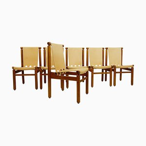 Leather Chairs by Ilmari Tapiovaara for La Permanente Mobili Cantù, Set of 6