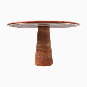 Red Travertine Dining Table in the Style of Angelo Mangiarotti