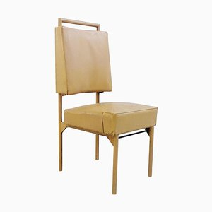 Sedia in ferro e pelle di Jacques Adnet, anni '50