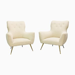 Italian Armchairs in Upholstery, Italy, 1950s, Set of 2