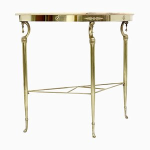 Italian Demilune Pink Marble Console Table, 1950s