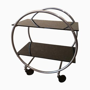 Round Metal Bar Cart, 1950s