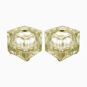 Greenish Cubo Sfera Table Lamps by Allessandro Mendini for Fidenza Vetraria, 1968, Set of 2