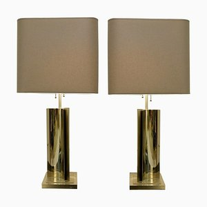 Chrome Table Lamps, Set of 2