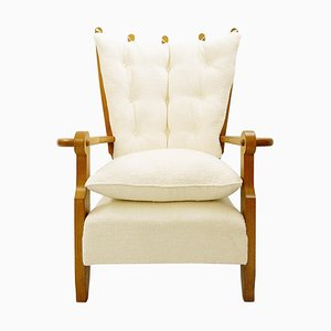 Carved Oak & Upholstery High Back Armchair by Guillerme & Chambron