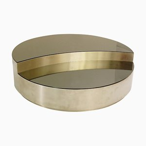 Italian Round Coffee Table in Brushed Chrome & Smoked Mirror Top