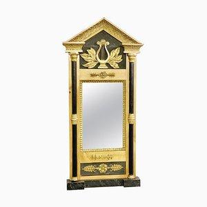 Specchio Biedermeier in legno di betulla, legno scuro e stucco dorato, anni '20