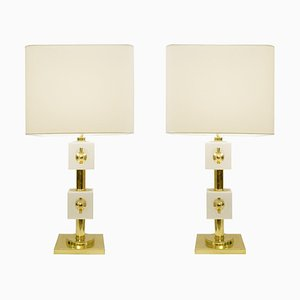 Italian Brass and White Glass Cubes Table Lamps, Set of 2