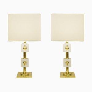 Lampade da tavolo con cubi in ottone e vetro bianco, Italia, set di 2