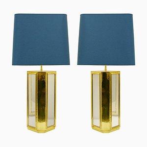 Lampade da tavolo grandi in ottone e vetro specchiato, set di 2