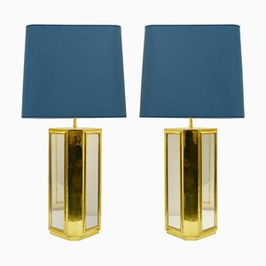 Large Brass and Mirror Table Lamps, Set of 2
