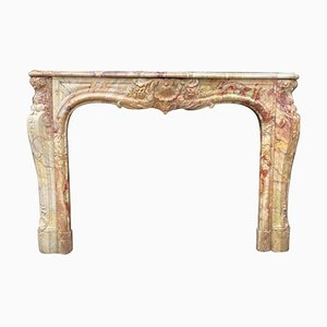 Louis XV Style Fireplace in Sarrancolin Marble, Late 19th Century