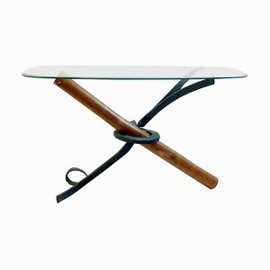 Bamboo and Wrought Iron Console with Oval Glass Top