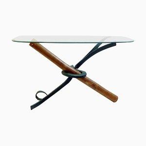 Consolle in bambù e ferro battuto con ripiano ovale in vetro