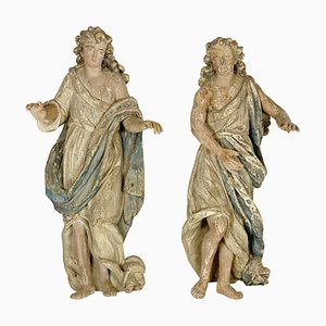 Wood Angels Sculptures, France, 18th Century, Set of 2