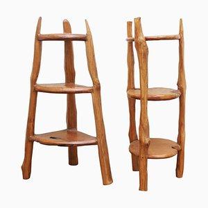 Tavolini in legno intagliato, set di 2