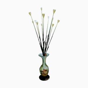 Lampada da terra con fiori in ceramica, Italia