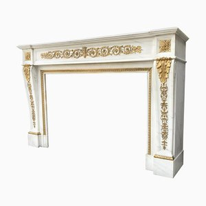 Louis XVI Style Carrara White Marble Fireplace