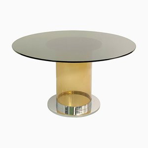 Italian Dining Table in the Style of Salocchi with Smoked Round Glass Top
