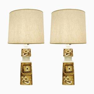 Danish Porcelain Baca Table Lamps by Nils Thorsson for Royal Copenhagen, Set of 2