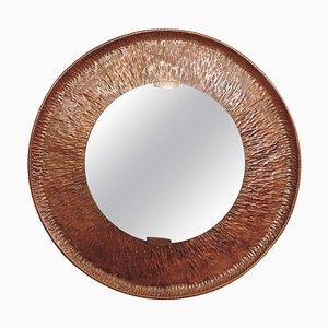 Miroir Rond en Cuivre Martelé