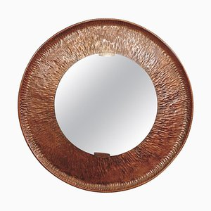 Specchio rotondo in rame martellato