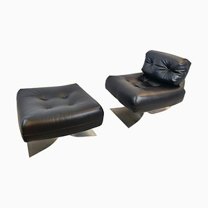Model Alta Chair and Ottoman by Oscar Niemeyer, 1970s, Set of 2
