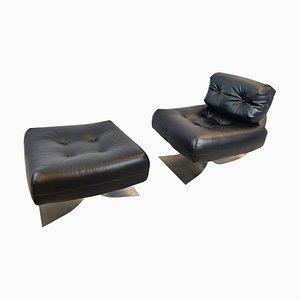 Modell Alta Stuhl und Fußhocker von Oscar Niemeyer, 1970er, 2er Set