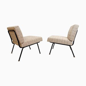 Italian Easy Chairs with a Black Tubular Steel Frame, Set of 2