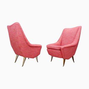 Italian Armchairs with High Backs, Set of 2
