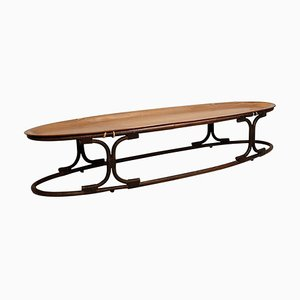 Italian Oval Teak, Bamboo, and Leather Rope Coffee Table with Plywood Top