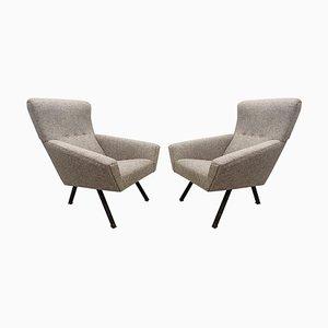 Italian Comfortable Armchairs with High Backs, Set of 2
