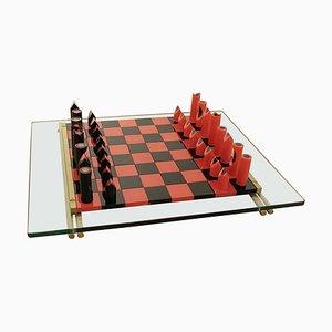 Schachspiel aus Muranoglas von Mario Ticco für Veart, Italien, 1983