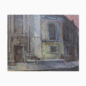Victor Petré, Brussels Street Scene Painting on Canvas, Belgium, 1960