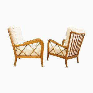 Armchairs with Cream Upholstery by Paolo Buffa, Italy, 1940s, Set of 2