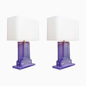Lampes de Bureau en Verre de Murano Lavande, Set de 2