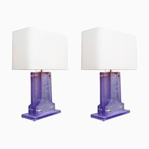 Lavender Murano Glass Table Lamps, Set of 2