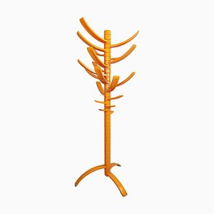 Sculptural Orange Lacquered Wooden Coat Rack by Bruce Tippett Renna