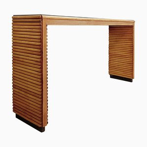 Table Console en Verre et en Bois Noir