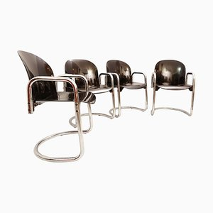 Dialogo Chromed Dining Chairs by Tobia Scarpa for B&B Italia, 1970s, Set of 4