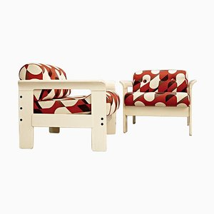 Armchairs in Cream Lacquered Wood by Silvano Passi, Set of 2