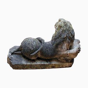 Sculpture de Lion en Marbre de Carrare, Italie, Italie, 17ème Siècle