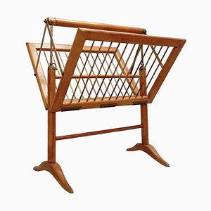 Wood and Brass Magazine Rack by Cesare Lacca, 1950s