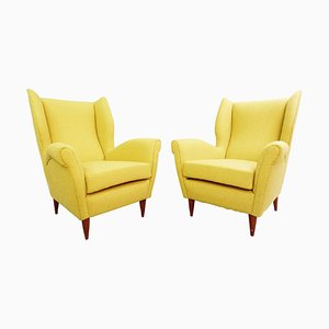 High Back Armchairs with Curry Yellow Upholstery by Gio Ponti, 1950s, Set of 2