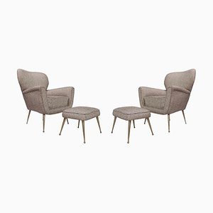 Italian Armchairs with Ottomans, Set of 4