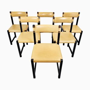 Wood and Leather Chairs, 1970s, Set of 6